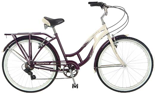 3. Schwinn Women's Sanctuary 7-Speed Cruiser Bicycle (26-Inch Wheels), Cream/Purple, 16-Inch