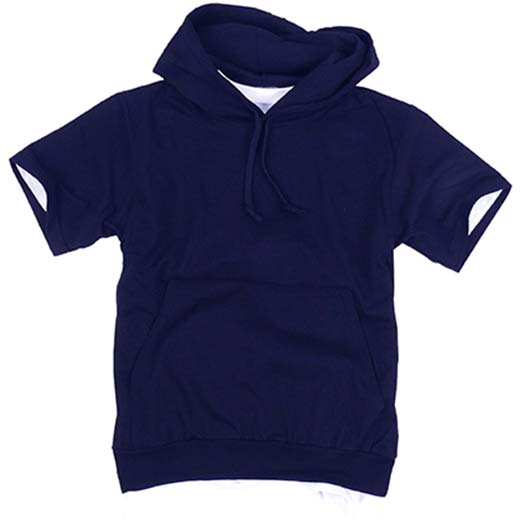 4. ililily Canvas Short Sleeve Pullover Hooded Cotton Lightweight Sweatshirt