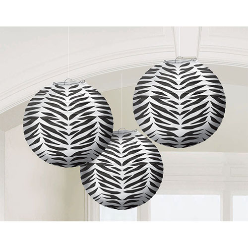 4. Zebra Stripes Animal Print Paper Lanterns (3ct)