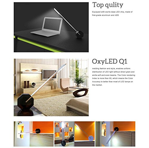4. [Unique Stylish Patent Design] OxyLED® Q1 Dimmable LED Desk Lamp (Piano Black