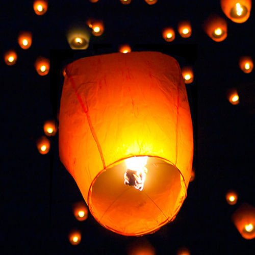 10. (50) White Paper Chinese Lanterns Sky Fly Candle Lamp for Wish Party Wedding