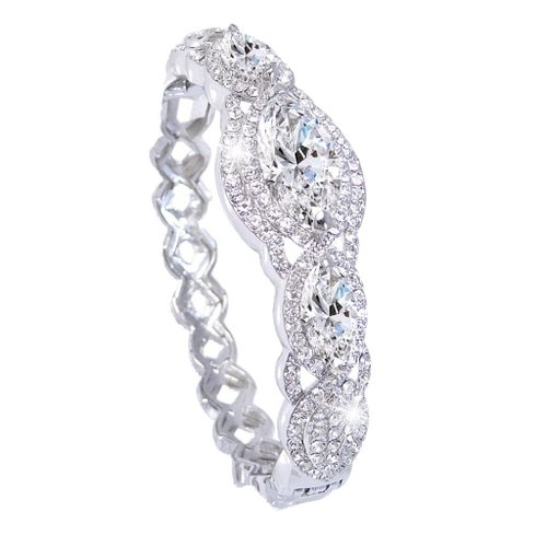 10. Ever Faith Bridal Silver-Tone Three Marquis-Shape Clear Zircon Austrian Crystal Bracelet