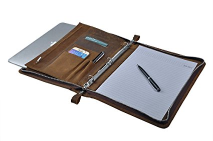10. Rustic Leather Padfolio with 3-Ring Binder