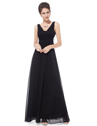 1. Ever Pretty Double V-Neck Ruched Waist Ladies Long Evening Dress 08110