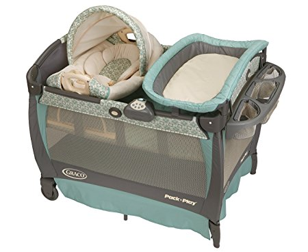 8. Graco Pack 'n Play Playard Bassinet Changer with Cuddle Cove Rocking Seat, Winslet