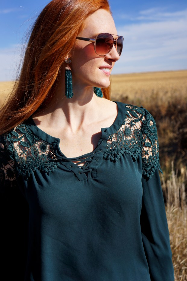 Emerald Lace Top