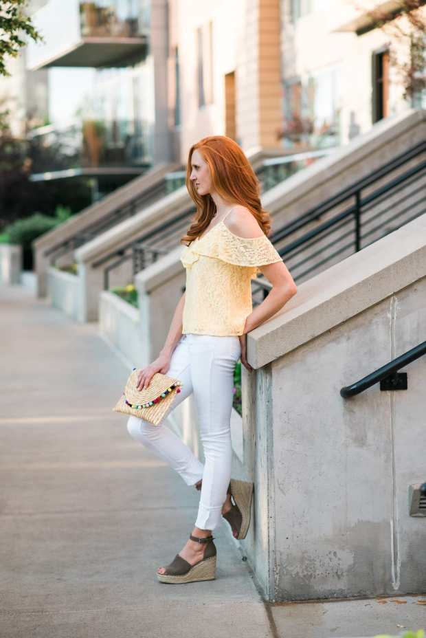 Yellow & Lace Off the Shoulder Top