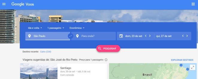Sites de passagens aéreas - Google Flights