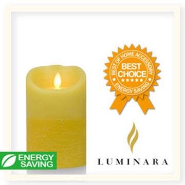 【Luminara 盧米娜拉 擬真火焰 蠟燭】鵝黃雙色漸層香草香氛水紋蠟燭禮盒(中)/66017 +加贈充電電池組