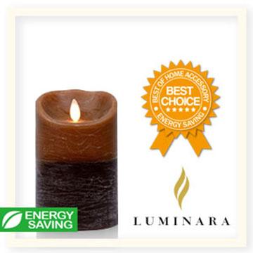 【Luminara 盧米娜拉 擬真火焰 蠟燭】 咖啡雙色漸層香草香氛水紋蠟燭禮盒(中)/66018 +加贈充電電池組