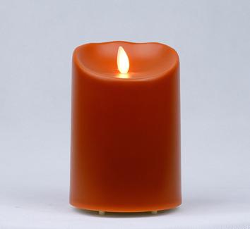 【Luminara 盧米娜拉 擬真火焰 蠟燭】橘色戶外防水蠟燭(中)/66049 +加贈充電電池組