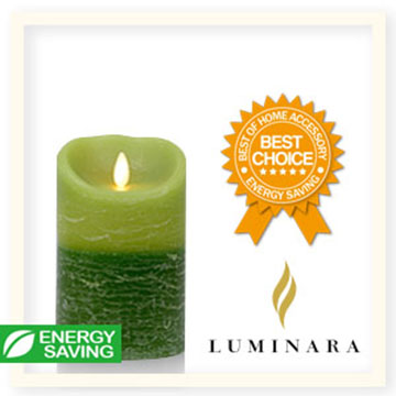 【Luminara 盧米娜拉 擬真火焰 蠟燭】 綠意盎然雙色漸層香草香氛水紋蠟燭禮盒(中)/66063 +加贈充電電池組