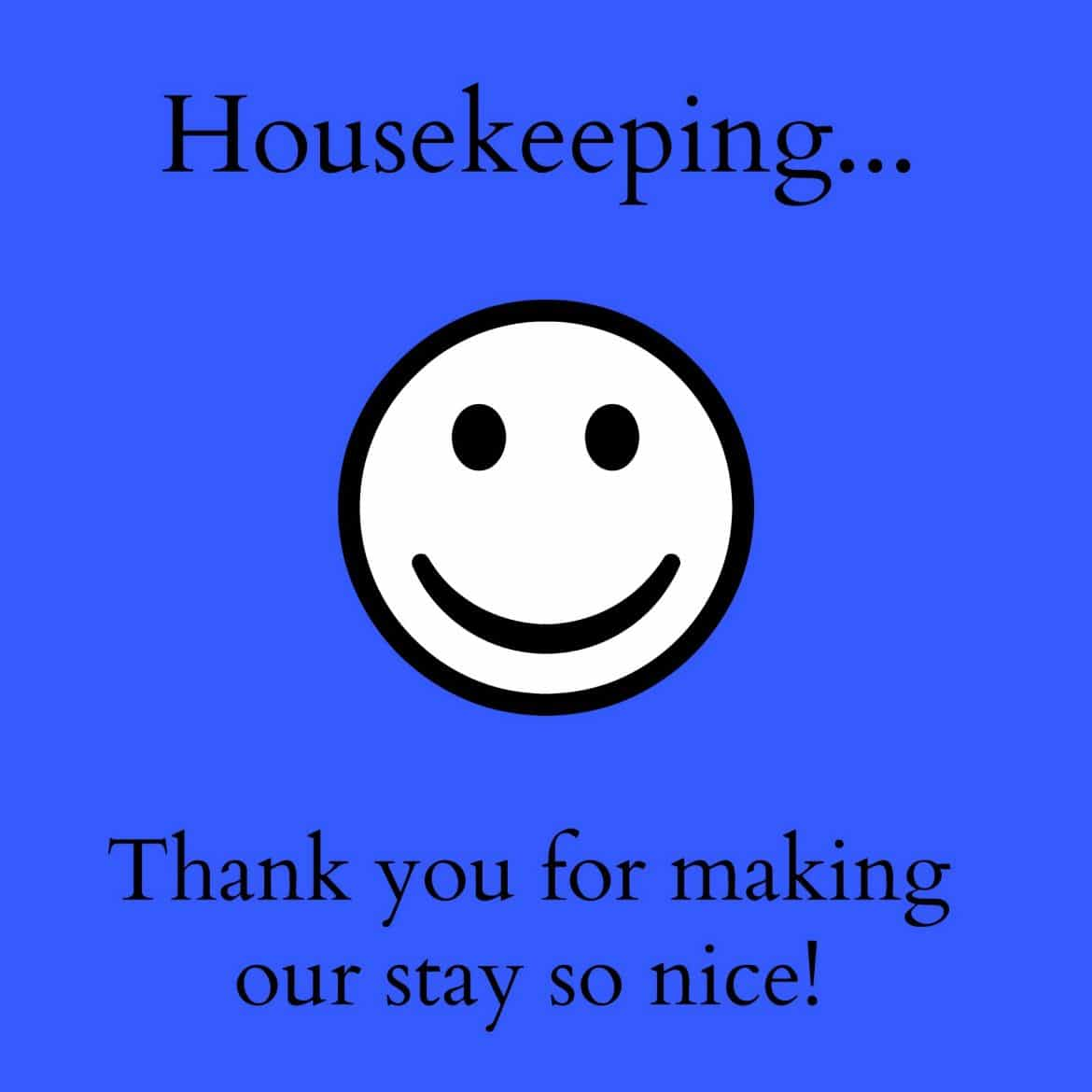 Thank You Notes For Hotel Housekeeping Printables A