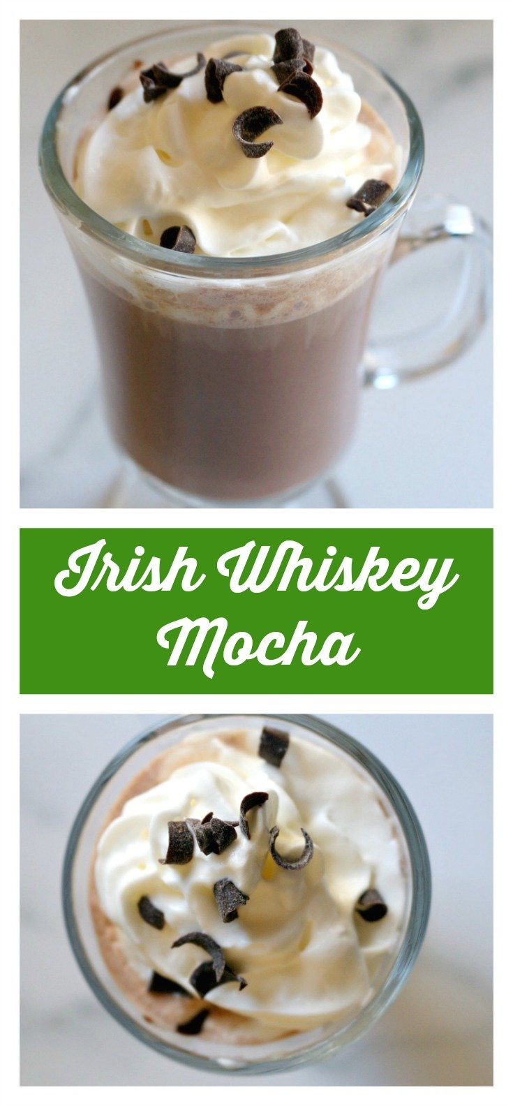 A twist on the original Irish Coffee, with the added kick of espresso and hot cocoa.  A delicious St. Patrick's Day cocktail!