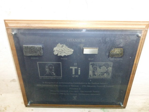 Memorial to William Gregor, the discovery of Titanium