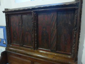 Mawnan: part of the rood screen, now a bench back