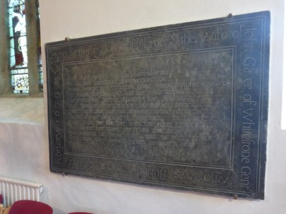 Week St Mary: monument to Margery Gayer