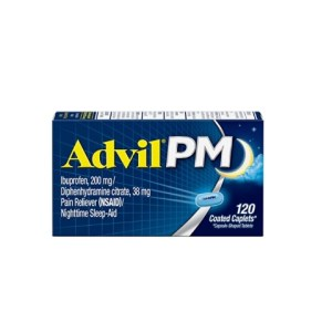 Advil PM Pain Reliever/Nighttime Sleep Aid, 120 Coated Caplet