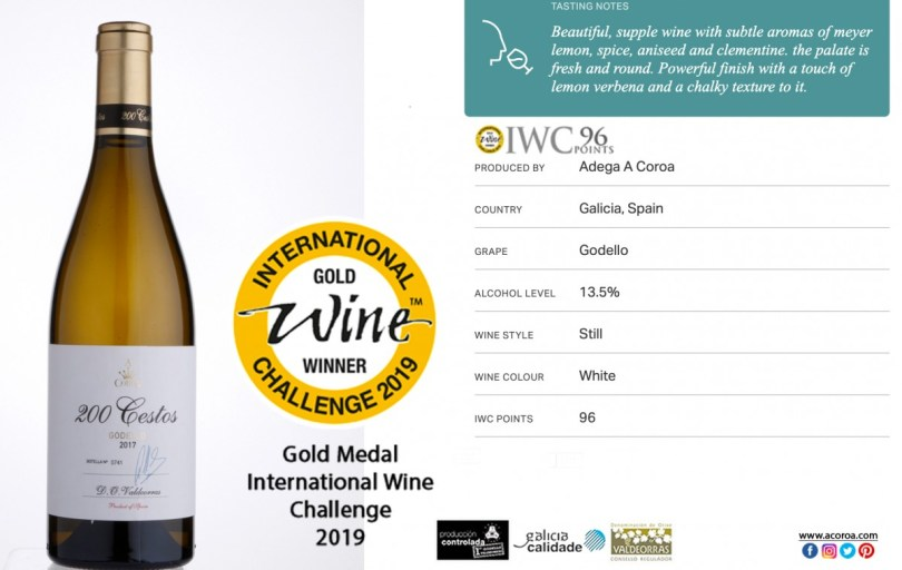 PREMIOS, GODELLO, IWC, INTERNATIONAL WINE CHALLENGE 2019, BEST WINES, GODELLO A COROA, GODELLO VALDEORRAS, GODELLO WINES, MEJOR GODELLO, PREMIOS GODELLO, Godello, A Coroa, Comprar, Godello, Online,