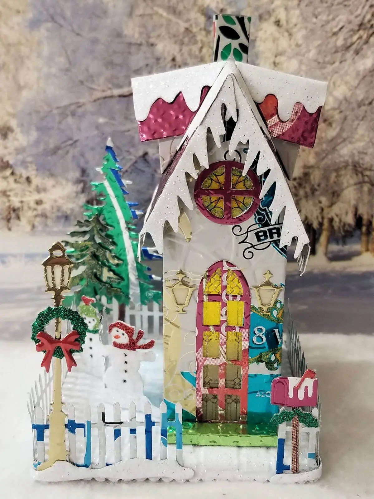 Winter Gabled Brownstone #2 aluminum can house