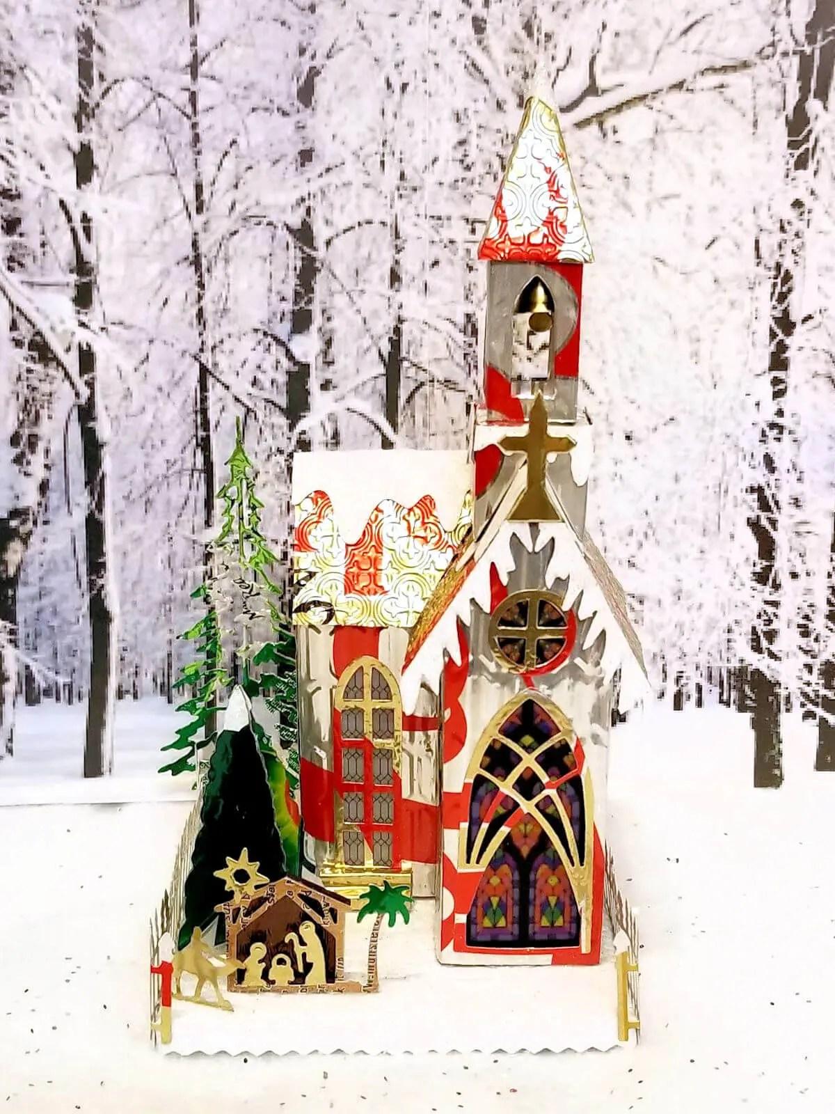Winter Village Church #2 aluminum can house