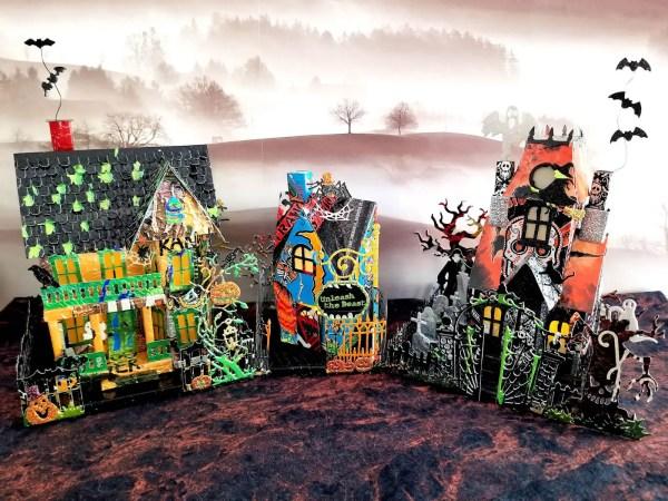 Halloween Village aluminum can houses