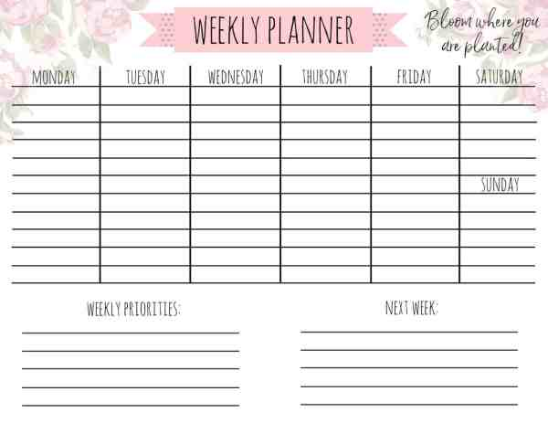 Free Printable Weekly Calendar quotGarden Lifequot A Country