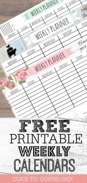 Free Printable Weekly Calendar for Every Style!