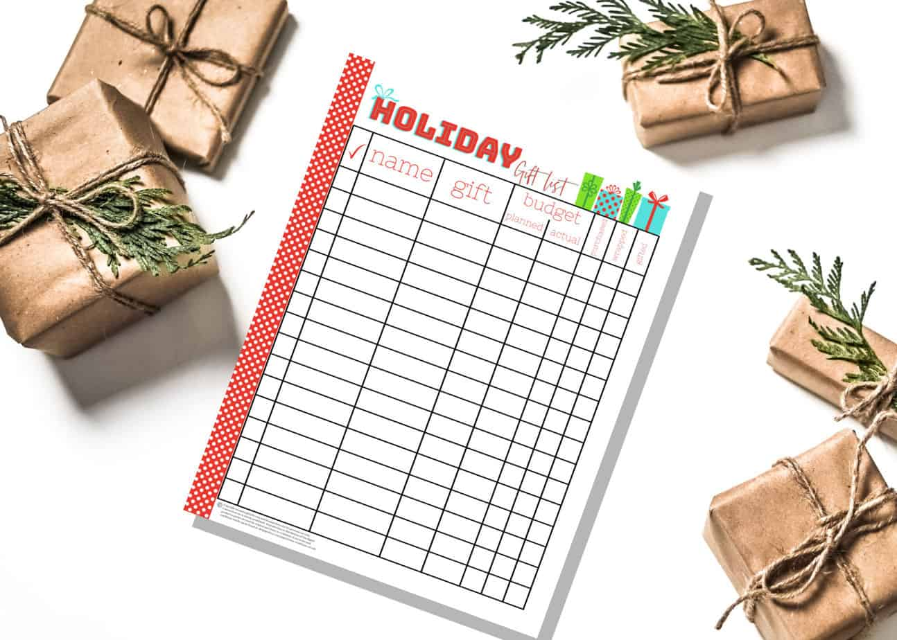 holiday gift list planner