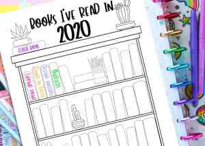 FREE Printable Bookshelf Reading Log For Planners & Bullet Journals
