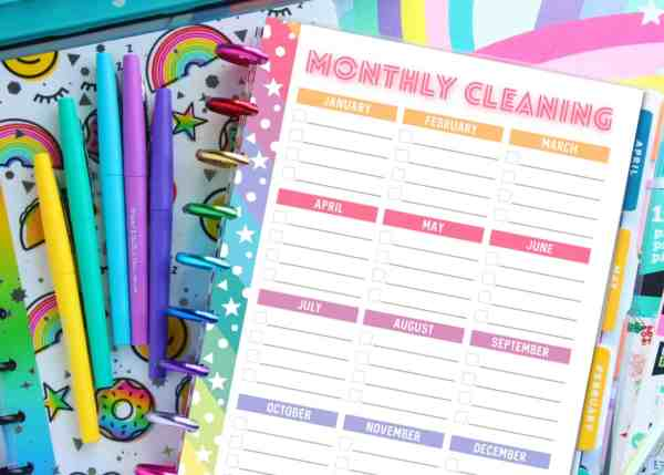 planner cleaning schedule