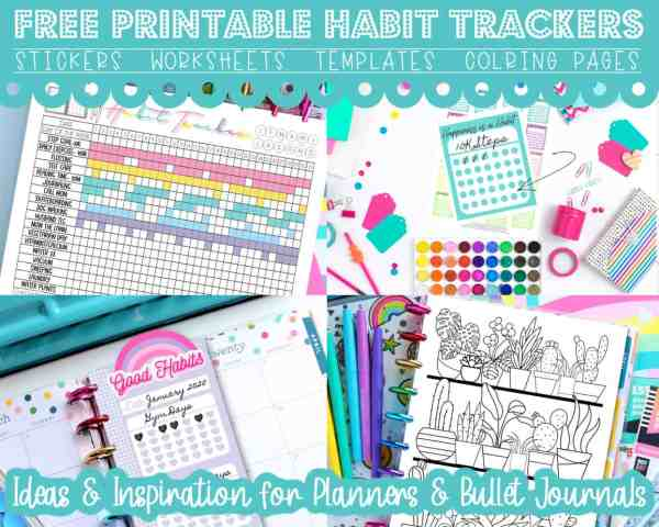 FREE Printable Habit Tracker Stickers, Templates & Coloring Pages for Planners