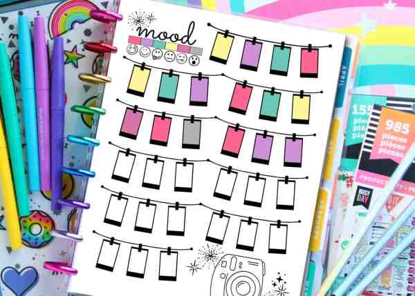 free printable mood tracker for planners or binders