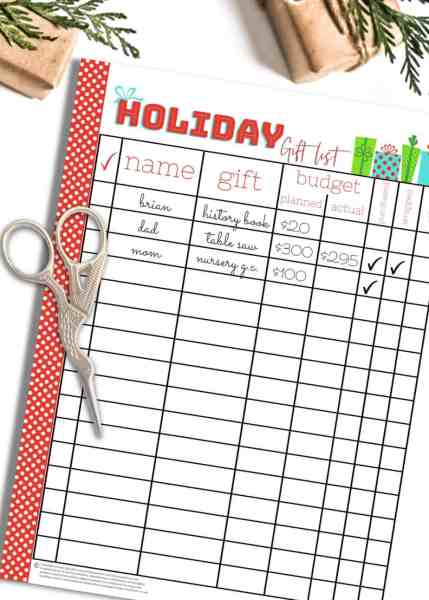 printable christmas shopping list and christmas list organizer for making a christmas gift budget you can stick to
