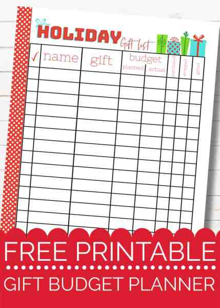 free printable christmas gift budget planner insert