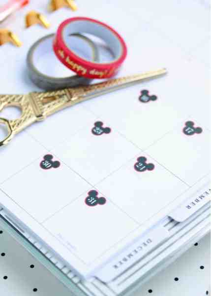 free printable disney planner stickers to redate or turn any planner into a disney planner