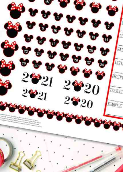 free printable disney planner stickers