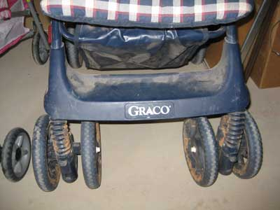 I'll have to clean the dust, mud and hay and grain remnants from this stroller so I'm not embarrassed to be seen pushing it.