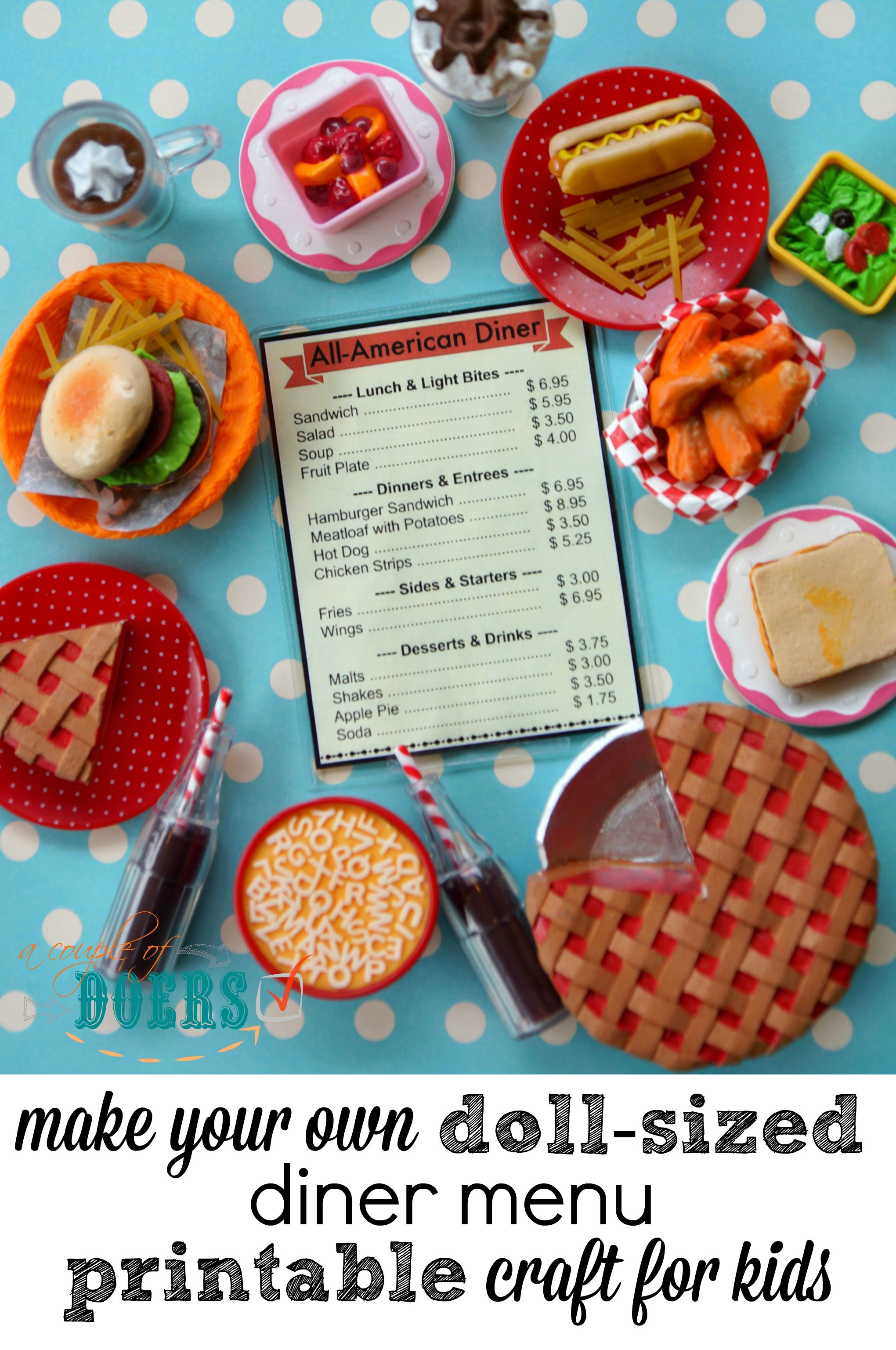 Diy Doll Sized Diner Menu Printable For American Girl