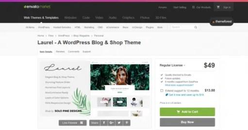 Laurel wordpress theme to start a travel blog