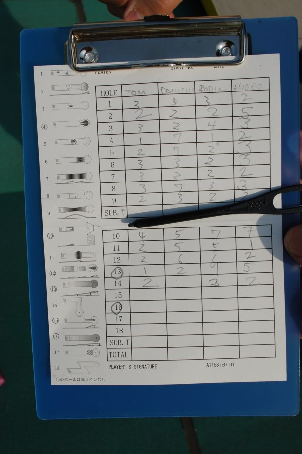 Score card with clip pencil.