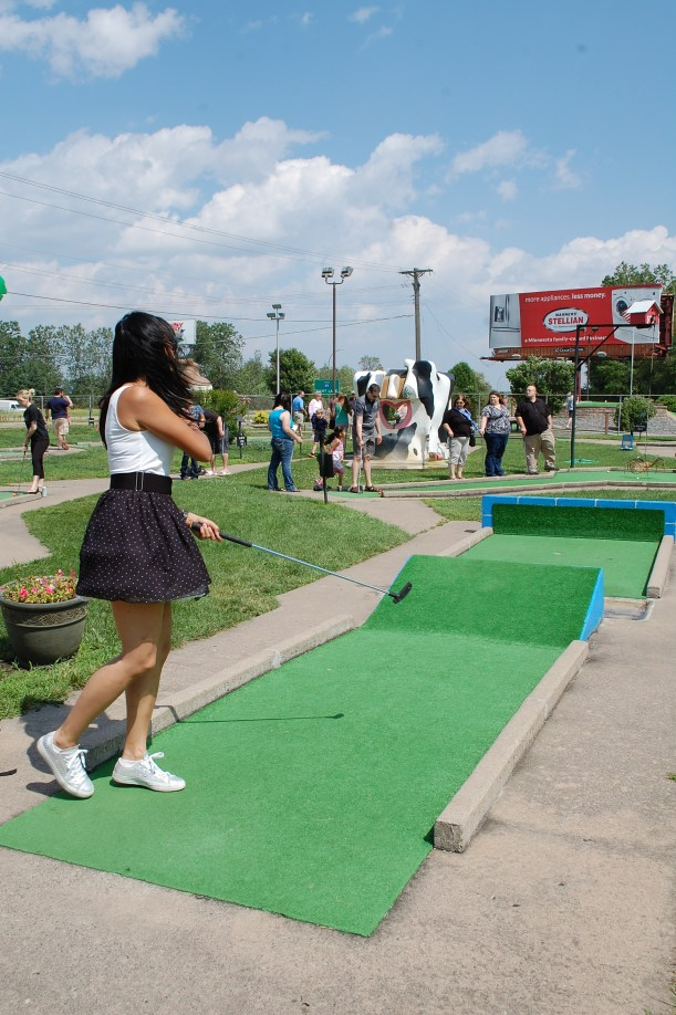 Risa makes the jump at Hole 13 - Splash