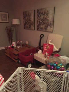 All of the unfinished decorations....and a wagon