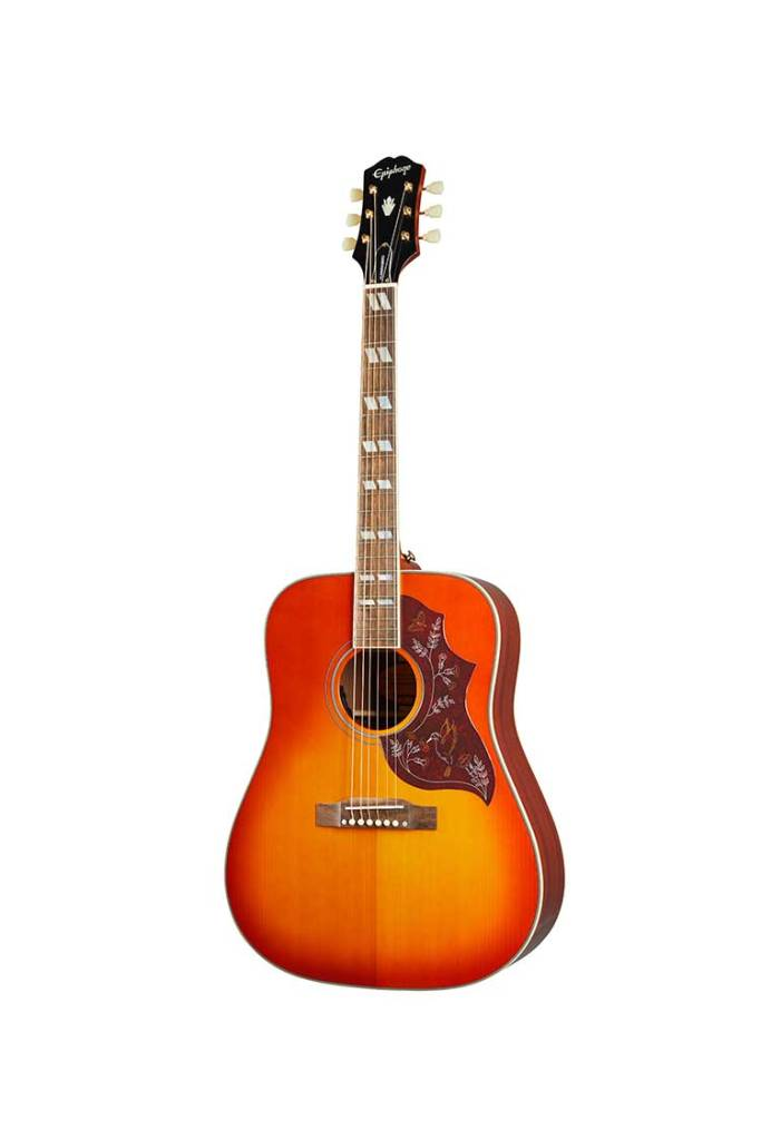 Epiphone Inspired by Gibson Hummingbird acoustic guitar cherry burst front