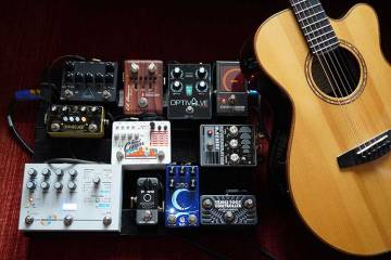 Acoustic Guitar with effect pedal board