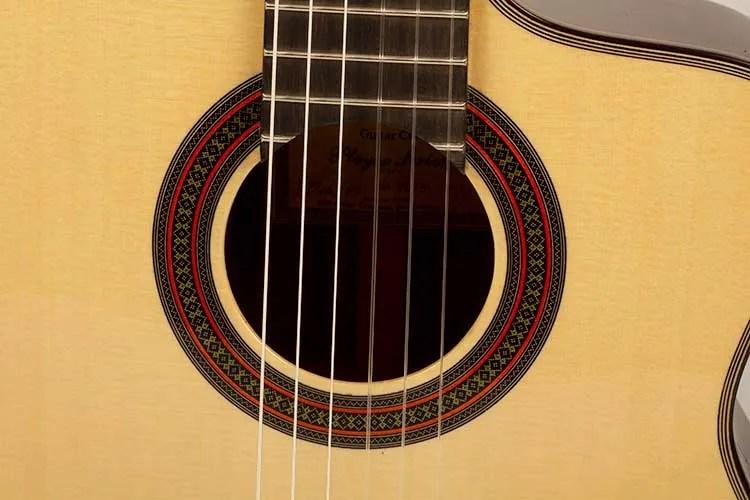 New World Guitars' P640S FS acoustic guitar soundhole closeup