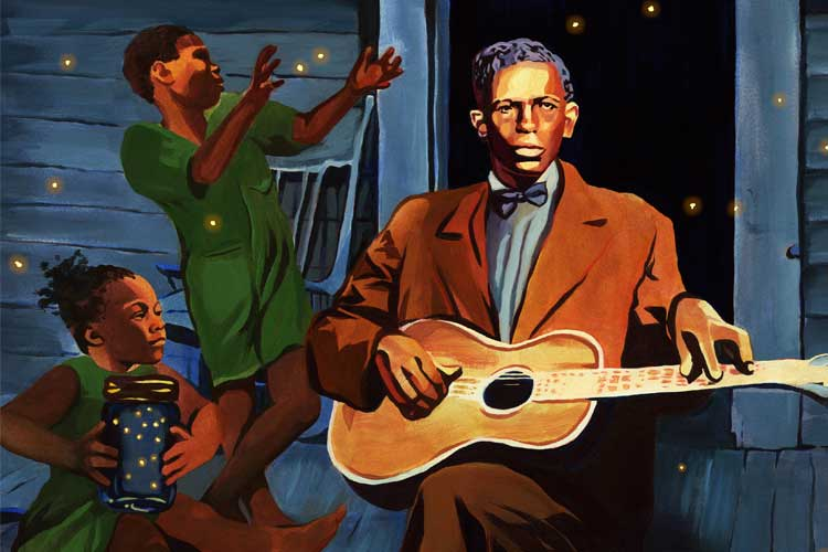 Illustration of Charley Patton from the book cover of Play the Blues Like. Features Patton playing his acoustic guitar on a porch, with young people looking at fireflies in the background.