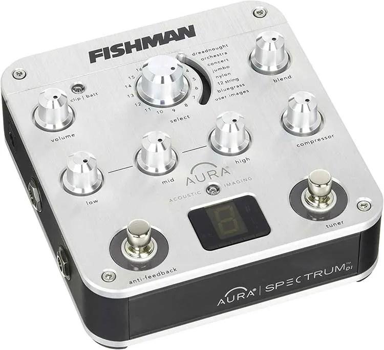 Closeup image of a Fishman Aura acoustic guitar effects DI pedal