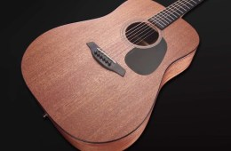 Furch Blue MM mahogany dreadnought acoustic guitar on a black background
