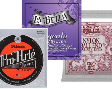 collage showing three different packages of nylon guitar strings